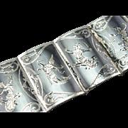 Siam Silver: Thai Dancers / Niello Style Panel Bracelet