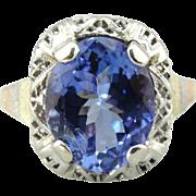 Fine Tanzanite, Art Deco & Retro Era Handmade Filigree 14K White Gold Ring, Large Fine ...