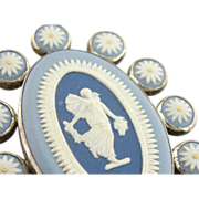 Ornate Vintage Wedgwood Cameo Brooch or Pendant in Sterling Silver