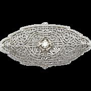 14k White Gold Brooch, Diamond Center, Art Deco