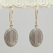 Beautiful Art Deco Chased Cufflink Earrings in Fine Gold