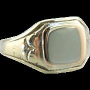 10 Karat Green Gold Ladies Size Simple Signet Ring, Vintage