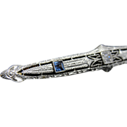 Stunning Art Deco Platinum and Gold, Sapphire Bar Pin with Diamonds