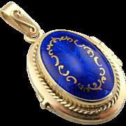 Ornate Cobalt Guilloche Blue Fine Enamel and 14K Yellow Gold Locket