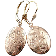 Victorian Floral Motif 9K Rose Gold Drop Earrings