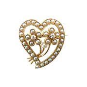 Sweet Gold Victorian Seed Pearl Brooch with Heart and Flowers, Tiny Diamonds