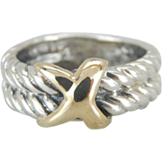 Nautical Themed Stacking Band in Silver and 18K Gold