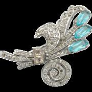 Deep Aqua Glass and Pave Rhinestone, Antique Art Deco Fine Costume Brooch