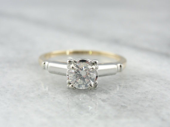retro engagement ring mixed metal yellow and