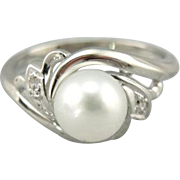 Cocktail with a Twist Cultured Pearl and Diamond Ring