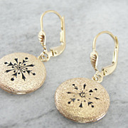 Victorian Rose Gold, Black Enamel Motif, Drop Earrings