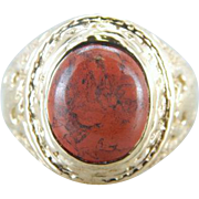 Vintage 10K Yellow Gold Military Style Ring with Red Jasper Gem