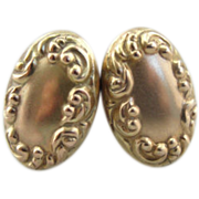 Victorian Earrings, Oval Studs with Chased Motifs