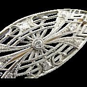 Stunning Platinum Filigree and Diamond Art Deco Brooch