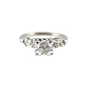 Outstanding Diamond in a Classic, Retro Engagement Ring with Scrolling Shoulders