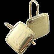Etched 14K Green Gold, Art Deco Drop Earrings