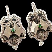 English Etchings: Victorian Enamel, Demantoid Garnet and Cultured Seed Pearl Drop Earrings