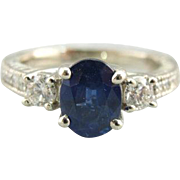 Luxurious Sapphire Ladies Ring with Deep Blue Sapphire, Diamonds