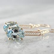 Vintage Rose Gold Filigree & Fine Aquamarine Earrings