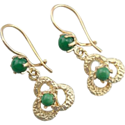 Retro Era, 14K Gold Love Knot and Green Turquoise Drop Earrings