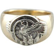 Antique Silver Eagle Medal and Fine Gold Ring