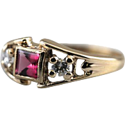 Retro Pink Tourmaline and Diamond Ring