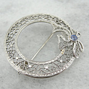 14K White Gold Filigree Circle Pin with Sapphire Accent, Perfect For Wedding Veil
