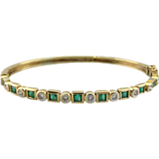 Bezel Set 14K Green Gold Diamond and Emerald Hinge Bracelet