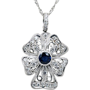 "SALE Vintage platinum diamond and sapphire pendant & twisted platinum 20"" chain."