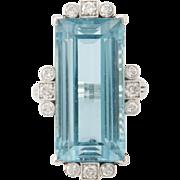 Vintage 900 Platinum Aquamarine and diamond ring