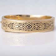 Antique 14K  yellow gold Victorian Hand engraved enamel bangle bracelet