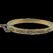 Antique Victorian 14k yellow gold black enamel bangle bracelet Circa 1880/1890 's.