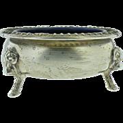 Vintage American  silver  and cobalt blue salt cups set of 2.