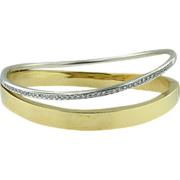 Vintage 18k WG & YG diamond bangle bracelet Circa 1970's.