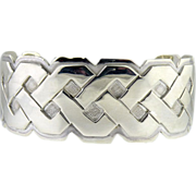 Vintage sterling silver braided cuff bracelet