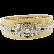 Stunning 14K Yellow Gold & Platinum Diamond Bangle Bracelet