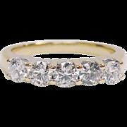 14K yellow gold Five Diamond Vintage Band  Ring  1.00cttw