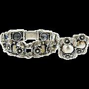 Sterling Silver Signed Niels Erik Denmark Vintage Modernist Bracelet & Earring Set.  Circa