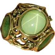 14K Yellow Gold vintage Jade,diamond &  Green synthetic Star Sapphire Ring