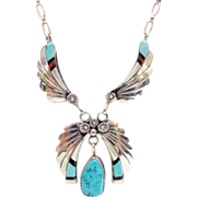 Sterling Silver Vintage Zuni Inlay Turquoise Hand Made Necklace