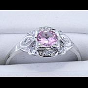 Platinum Vintage Pink Sapphire Ring