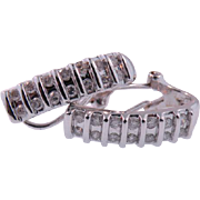 14 K White Gold Vintage 2 row Diamond Earrings