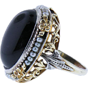 """Victorian 14K yellow gold Black Onyx And Seed Pearl Ring 1890""""s"""