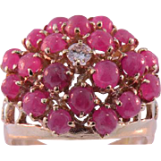 14K Yellow Gold Vintage Cabochon Ruby & Diamond  Cluster Ring