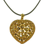 21k Vintage Yellow Gold Rose Cut Diamond Mogul Style Heart Necklace