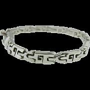 Sterling Silver Vintage Taxco Mexico Geometric Link Men's Bracelet