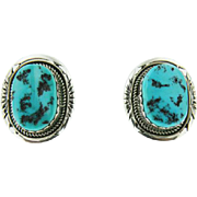 Sterling Silver Navajo Turquoise Earrings Signed Jon Mc Cray