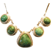 REDUCED Sterling silver Vintage   Green Turquoise Necklace