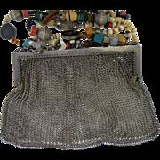 Silver Vintage Mesh Link Purse German Silver Bead Chain.