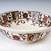 Buckingham Bowl with Earth-Tone Flowers English Circa 1880's